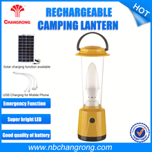 portable rechargeable solar camping light lantern with mobile phone charger solar panel