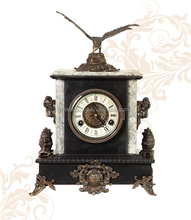 Eagle Design Antique Brass Clock Marble Base Table Clock Home Mechanical Art Clock