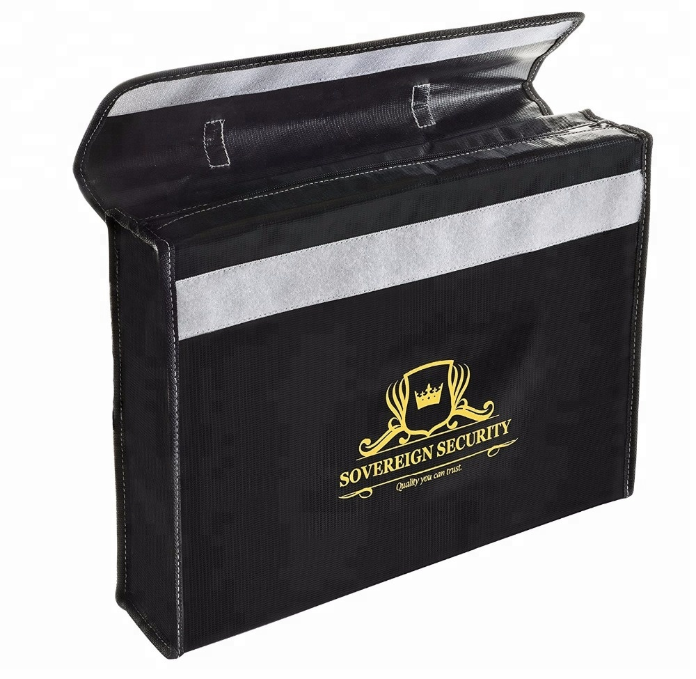 Custom Dual-Layer Home and Office Fireproof Documents Bag, Water and Fire Resistant Document Bag With Zipper Closure