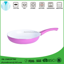 Pink aluminum white ceramic coating frying pan with Bakelite handle