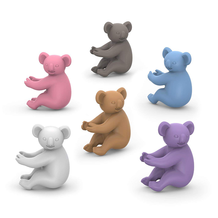 Set of 6 Silicone Wine Charms Koala Drink Markers