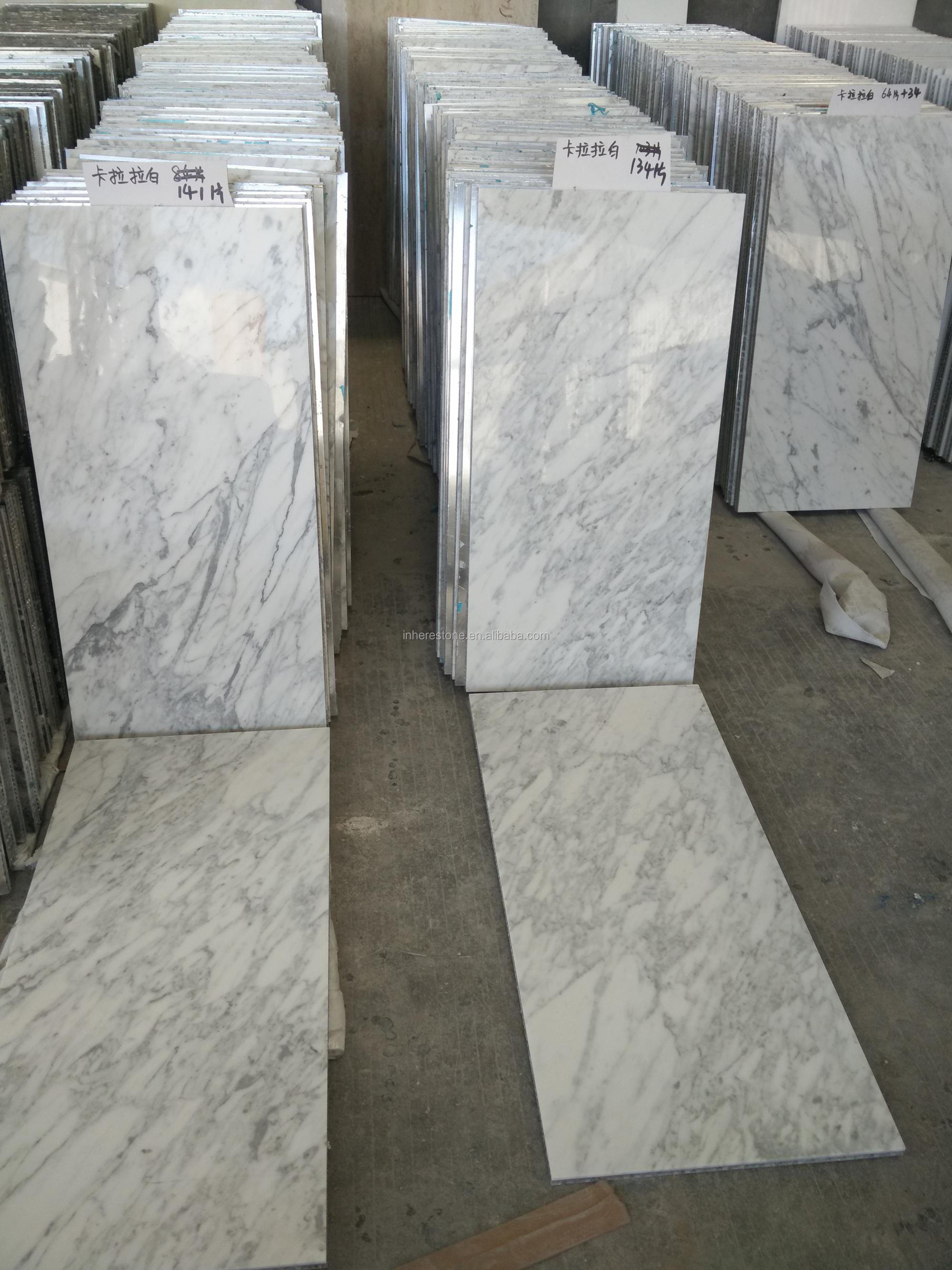 composite carrara white marble tile with aluminum honeycomb panel