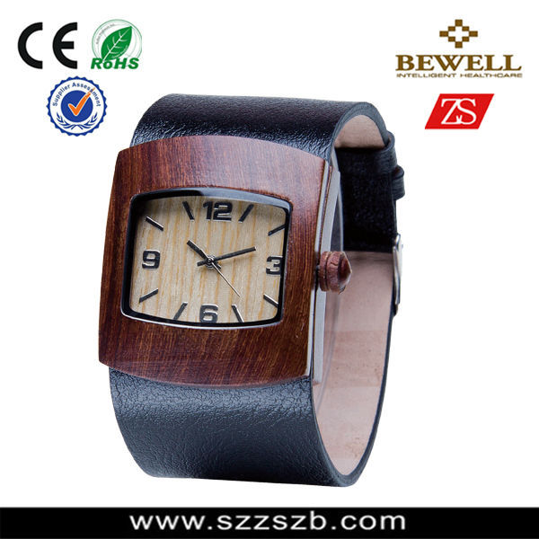 pu leather strap red sandalwood wooden watch japan quartz watches