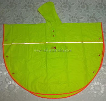 fluorescent yellow Child outdoor PVC poncho and rain cape with reflecot and piping on the bottom