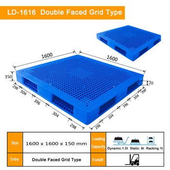 1600*1600*150mm double faced grid food grade plastic pallet