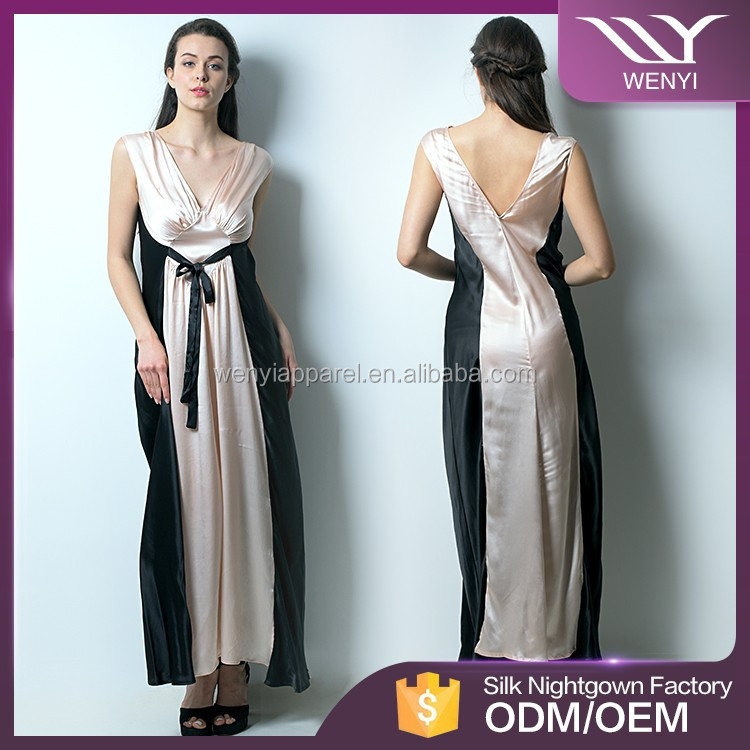 New design fashion low price beautiful mature ladies long sleeping night gown
