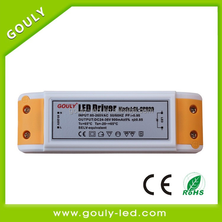 36w ce rohs approved high efficiency 87% 900ma Triac dimming power led driver for led lighting panel light