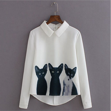 W72133G women clothes 2016 latest fashion white cat pattern cotton sarees blouse designs long sleeve