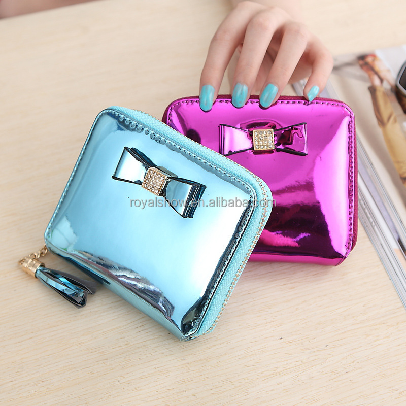 Wholesale Lady Women Coin Money Holder Shinning Bag Change Purse/Wallet With Tassel