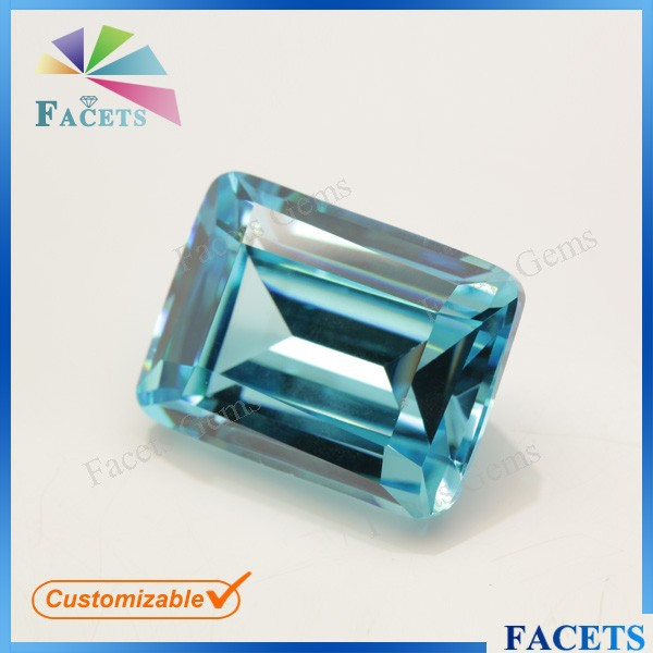 FACETS GEMS Loose Aqua Blue Gemstone Emerald Cut Cubic Zirconia Stone for Sale