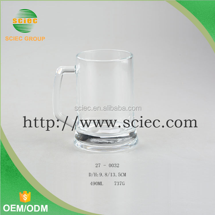 400ML High quality glass handle cup high white glass