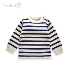Stripes Light Weight Long Sleeve Soft Sweater Design Baby Wool Knitting Pullover