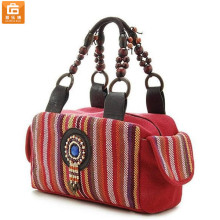Ethnic Style Wood Bead Strap Multi-color Stripes Cloth Tote Shoulder Bag Handbag