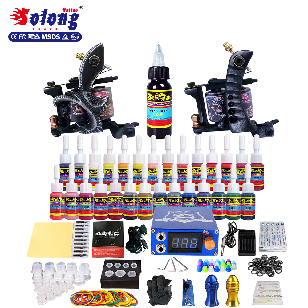 Solong Tattoo Machine Set 2Pro Gun 28Color Inks Power Supply Needle Tip Beauty Equipment Cheap Tattoo Kit Professional