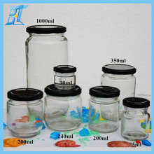 Full set glass jar with black metal lids for food storage/honey/jam