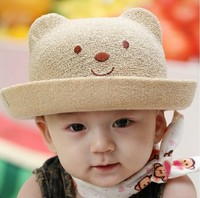 promotional kids infant baby child lovely pink bear emoji paper straw hat New Summber little bear with ears Baby Straw Sun Hats