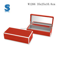 Sexy Display Design Glossy Lacquer Finished Wood Wine Box Jewelry Case With Mirror W1266