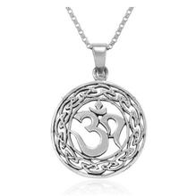 Yoga Om Aum Ohm Celtic Knot Filigree Round Pendant Necklace, 18 inches