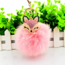 Pink Genuine Fur Bag Charm Pompoms Keychain Car Accessories for Girls and Women