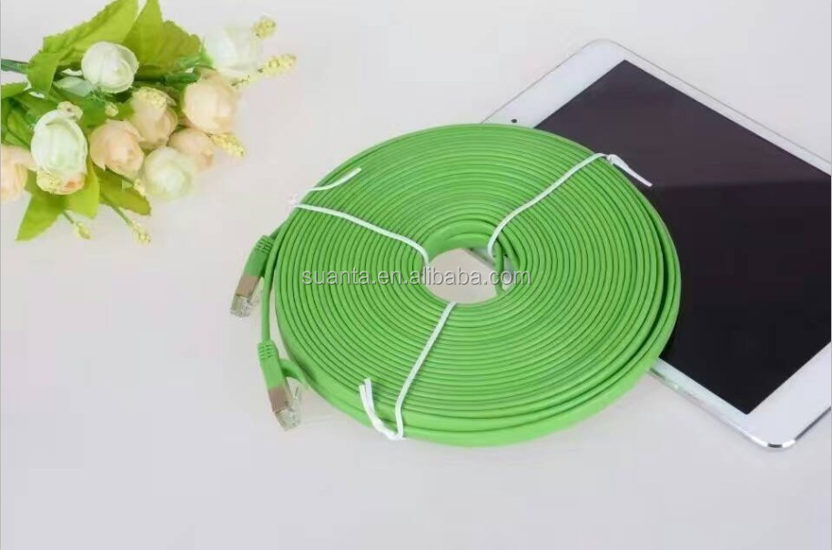 Purple/Green/Blue/White 2 pair Cat5/6 UTP Ultra Slim & Flat Lan Cable