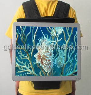 Indoor application and TFT Type LCD/ LED Digital Advertising Pane 22 inch small backpack multi media post lcd display