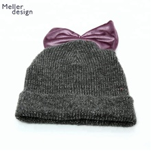 Custom Winter Child Baby Girl Stylish Big Bowknot Knit Beanie Hat