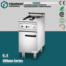 400mm free standing 304 stainless steel single basket gas deep potato chips fryer with cabinet
