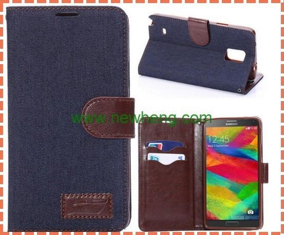 Jeans Cloth wallet leather case for samsung galaxy note4