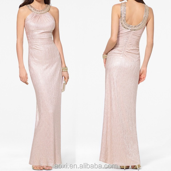 OEM Custom-made China supplier Western halter crystone beautiful model dress ling maxi evening lady dress party gown Wholesale