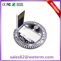 Shenzhen Manufacture Custom Full Colour Printing Free Logo Round USB Flash Card Token Drive Wafer Card Flash Memory