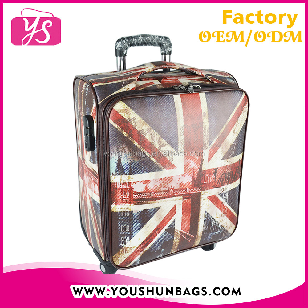 British flag printing PU leather carry on 4 wheel luggage