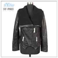 Europe style fashion women Merino sheep double-faced fur leather jackets coat with big knitting yarn lapel for sex girl