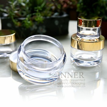 gold cap transparent jar 15g 30g 50g 100g