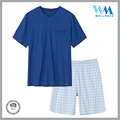 custom ladies grid pants casual 100 cotton blue sleepwear