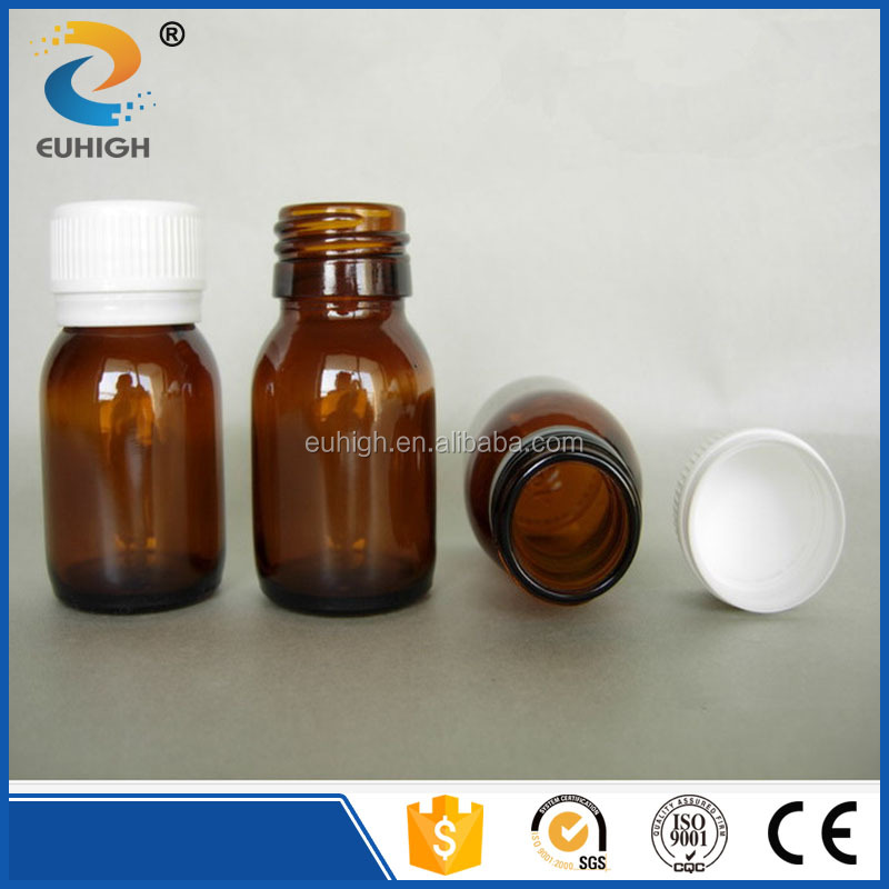 30ml amber glass oral liquid bottle with plastic cap hot sale