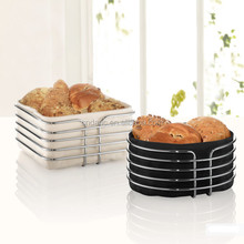 Square or rectangular shape bread basket/toast basket with cotton bag and metal holder