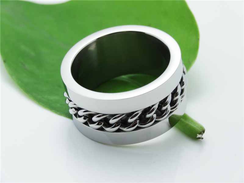 Wholesale Punk Men Gothic Silver Ring Expendables Stainless Steel Titanium Lron Chain Ring