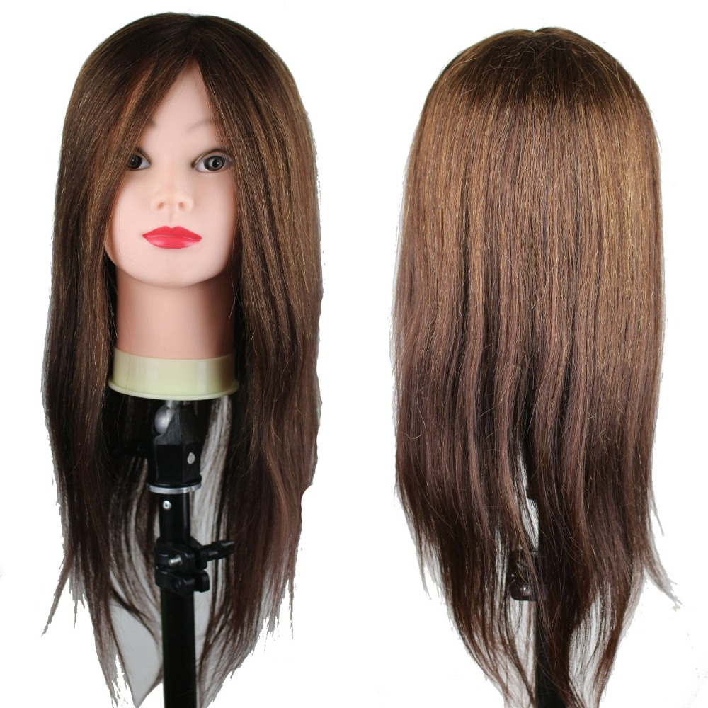 Dreambeauty Real Human Hair Mannequin Training Head 22inch Brown Color Hair