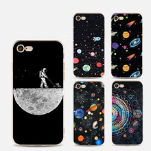 UV Printing Soft Phone Case With Space Star Ship Astranout Planet Patterns for iPhone8 7 7 Plus 6 6plus