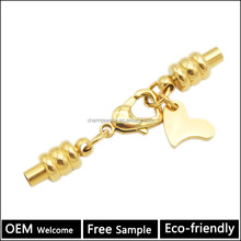 Wholesale stainless steel jewelry Component magnetic cord ends with gold Lobster clasp BX127