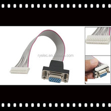 HD15 female 15pin VGA connector custom ribbon flat cable