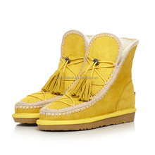New design yellow suede tassel folded lace up buckle strap knitting split joint snow boots