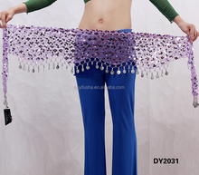 Professional hot sexy belly dance clothing cheap coin and sequined belly dance hip scarf