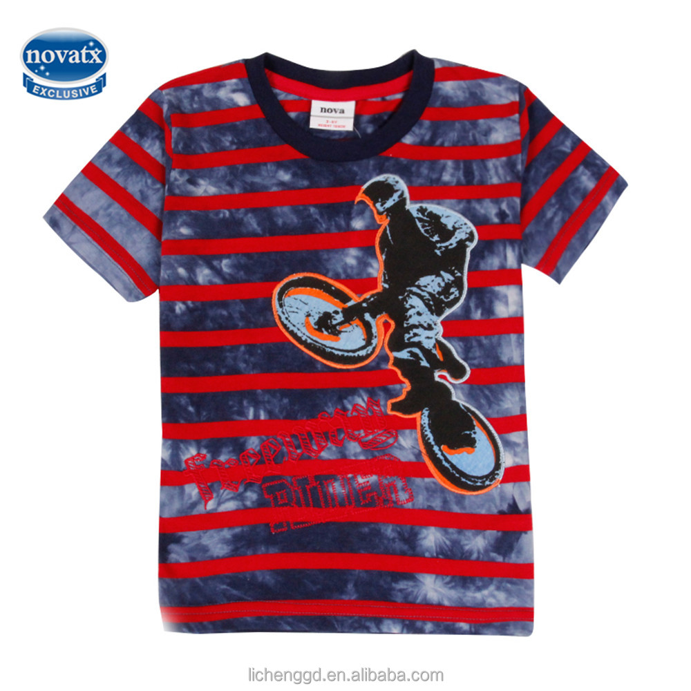 novatx (C6288) 2016 latest designs red strip t shirts china factory cheap clothes children short sleeve summer kids top