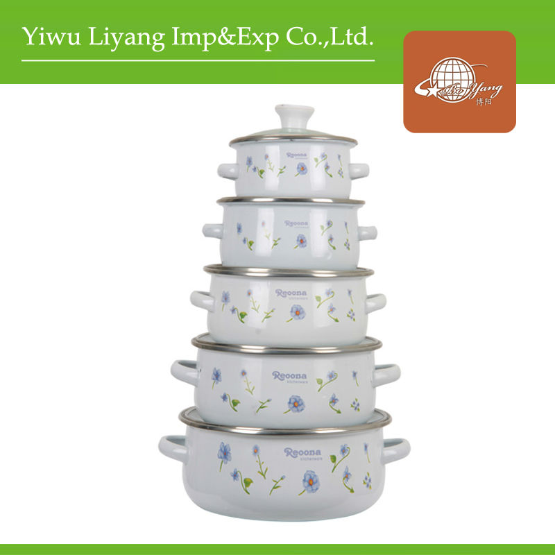 5Piece White Enamel Casserole Sets With Glass Cover& Enamel Porcelain Cooking Pot Enamel Ceramic Cookware