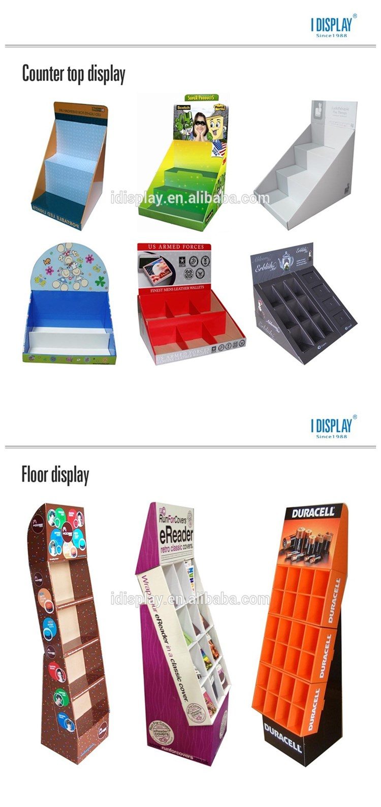 Red Waterproof Floor Cardboard Display Rack With Glossy Lamination