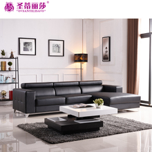 Living Room Furniture Imported Simple Design Big Modern Leather L Shaped Sofa Set