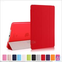 For ipad air smart cover pu leather clear pc back cover, for ipad 5 flip case