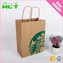 New Arrived brown strong durable Kraft paper bag with flat handles