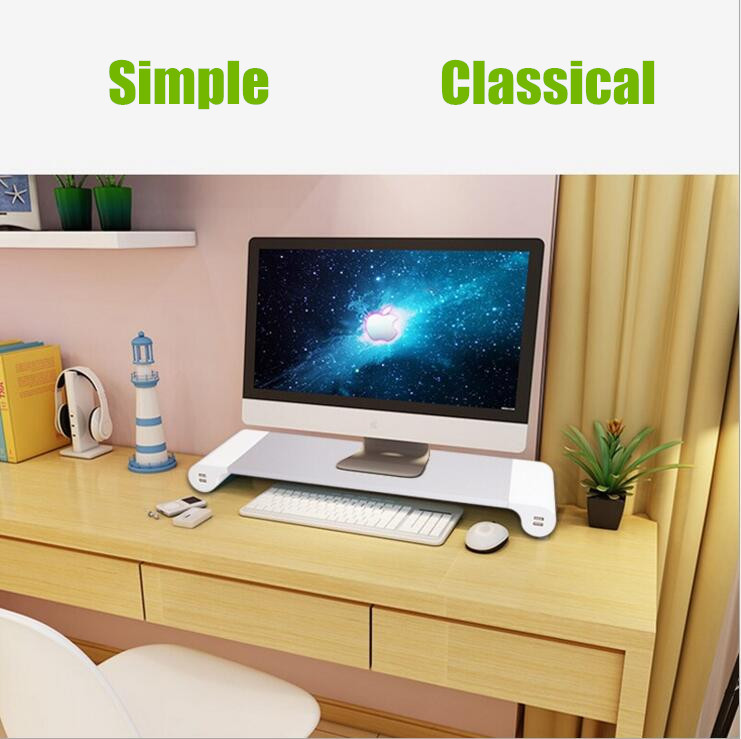 Sleek unique design pc monitor desk stand with usb hub and keyboard shelf for imac and macbook